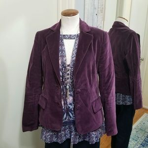 Kenneth Cole Velvet Fitted Blazer Berry Purple 6